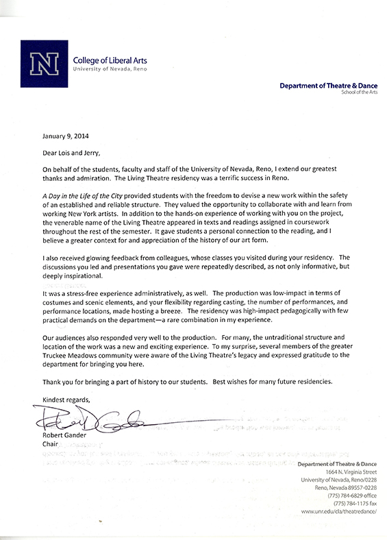 University of Nevada/Reno Letter of Recommendation
