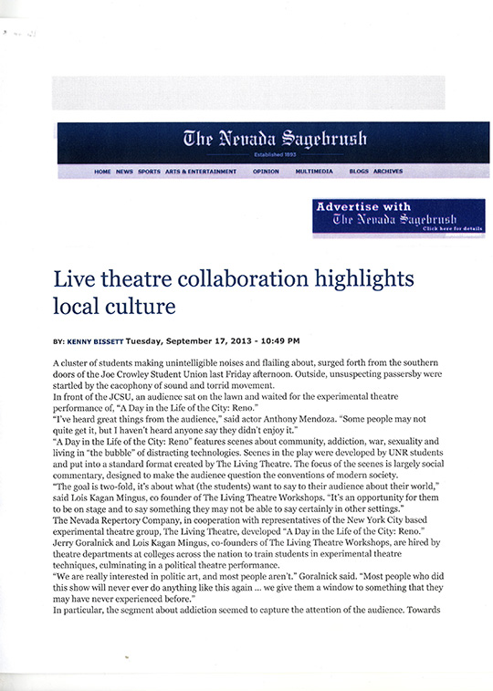 University of Nevada/Reno Sagebrush Review Page 1