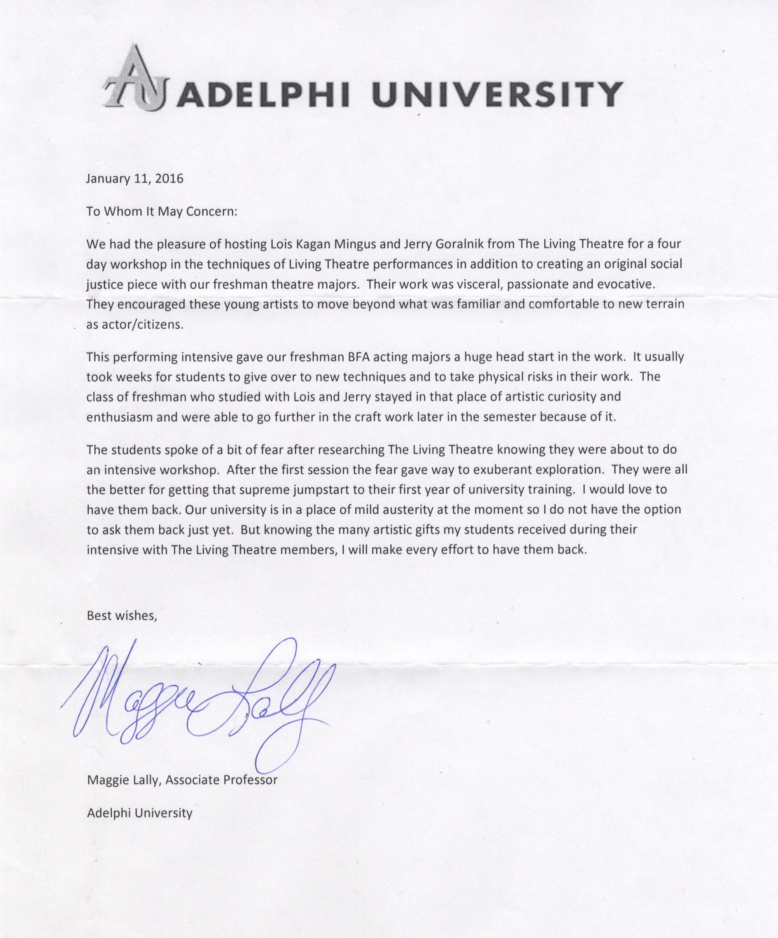 Adelphi Letter of Recommendation